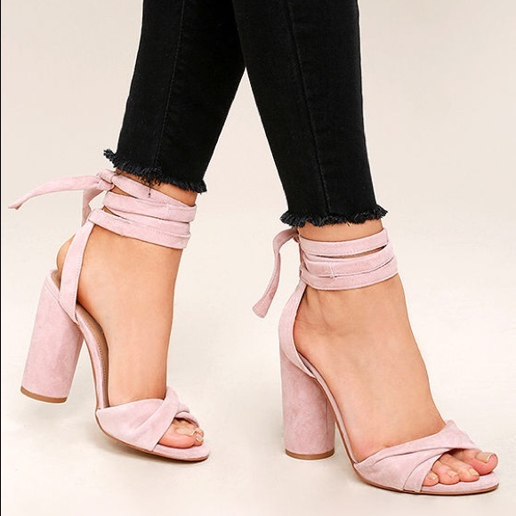 83f0d4662b9 Steve Madden Clary Pink Suede Leather Lace Up Heel